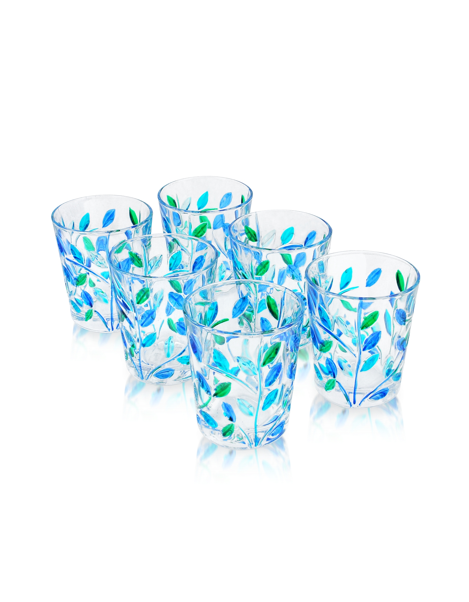 Due Zeta Kitchen & Dining, Sospiri - Blue Hand Decorated Murano Shot Glass Set of Six
