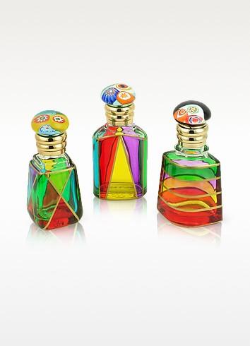 Marco Polo - Parfümfläschchen aus buntem Muranoglas mit Murrina-Verschluß - Due Zeta