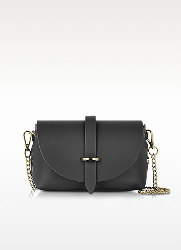 Le Parmentier Caviar Small Black Leather Shoulder Bag at FORZIERI