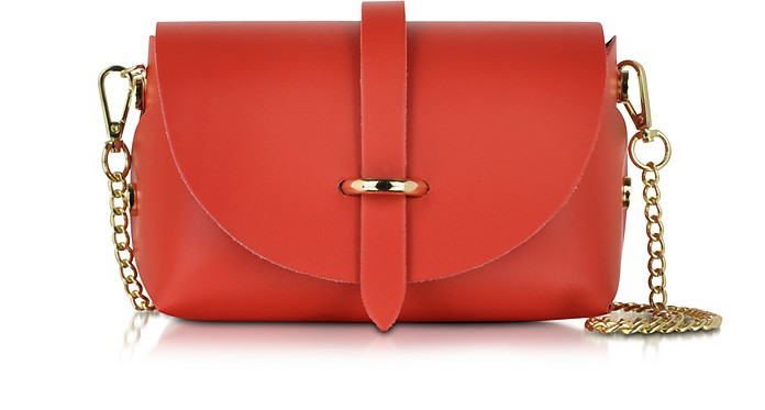 Caviar Small Red Leather Shoulder Bag - Le Parmentier