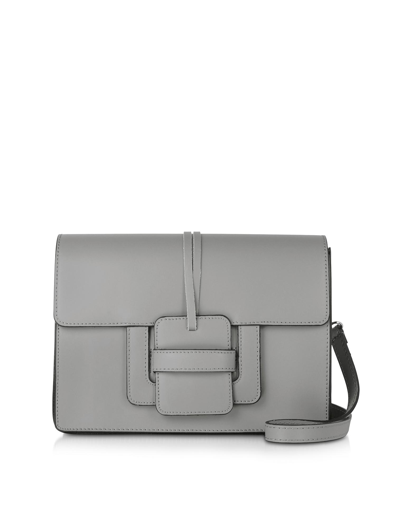 Le Parmentier Handbags, Gray Leather Shoulder Bag