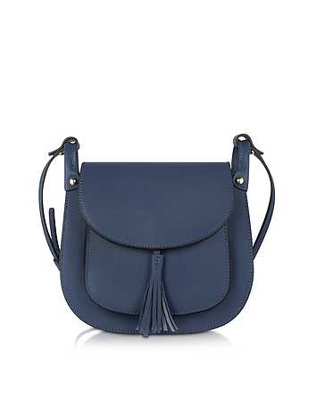 Le Parmentier - Buttercup Navy Leather Crossbody Bag