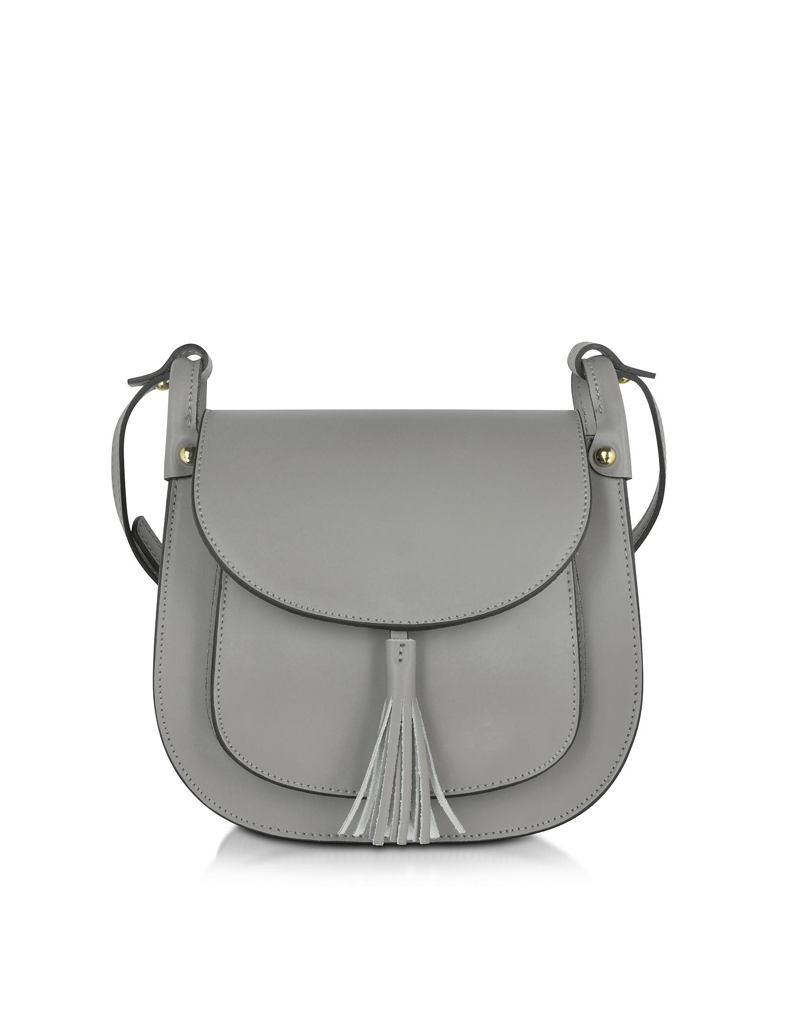 Le Parmentier Handbags, Buttercup Gray Leather Crossbody Bag