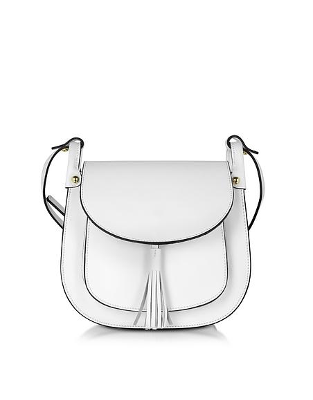 Foto Le Parmentier Buttercup Borsa Crossbody in Pelle Bianco Ottico con Tracolla Borse donna