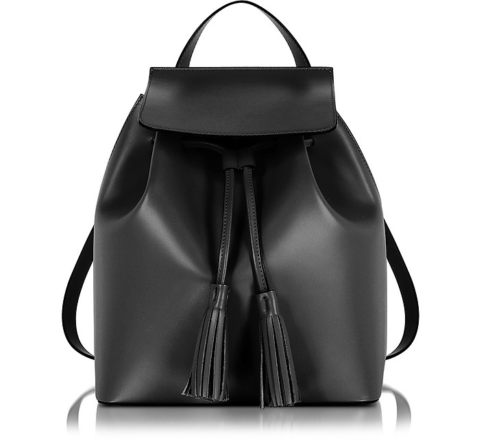 Black Leather Backpack - Le Parmentier
