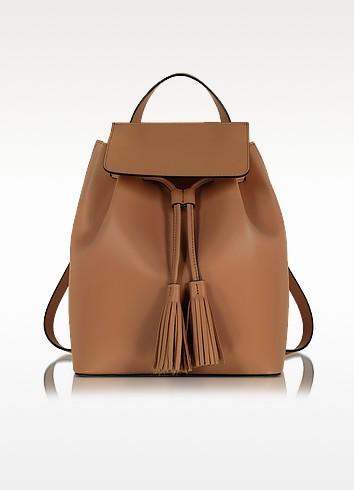 Cognac Leather Backpack - Le Parmentier