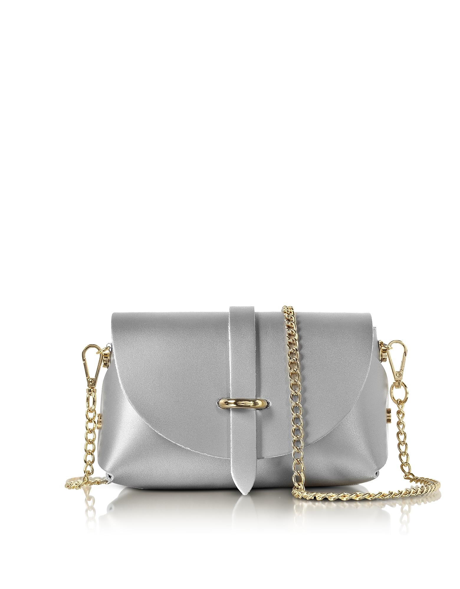 Le Parmentier Handbags, Caviar Metallic Leather Mini Shoulder Bag