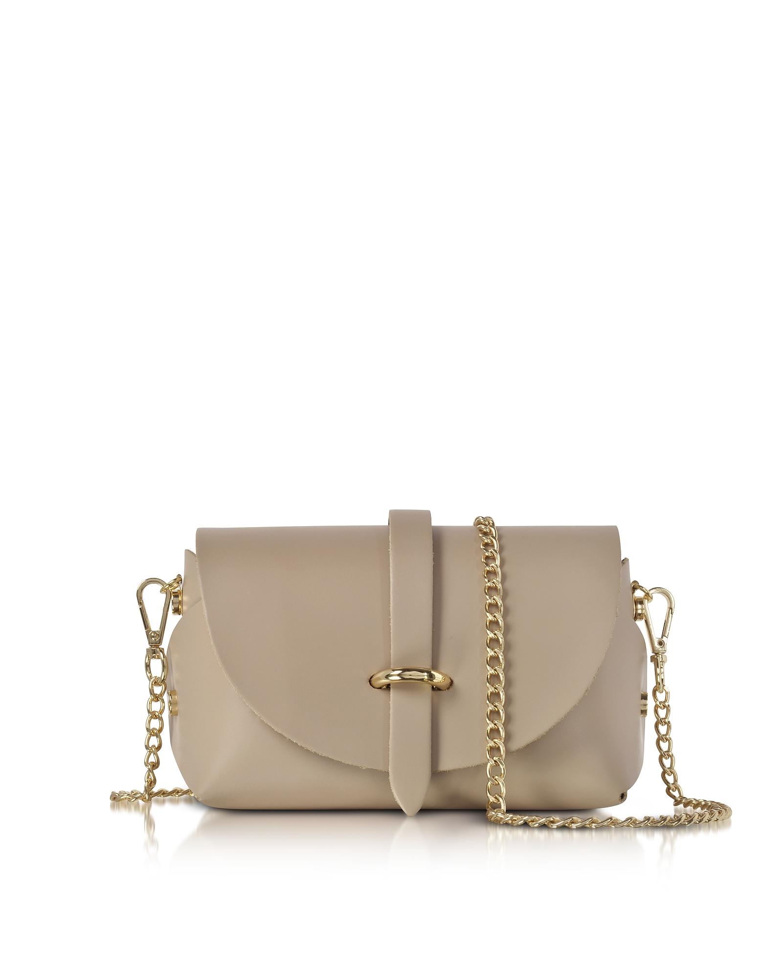 Le Parmentier Handbags, Caviar Nude Leather Mini Shoulder Bag