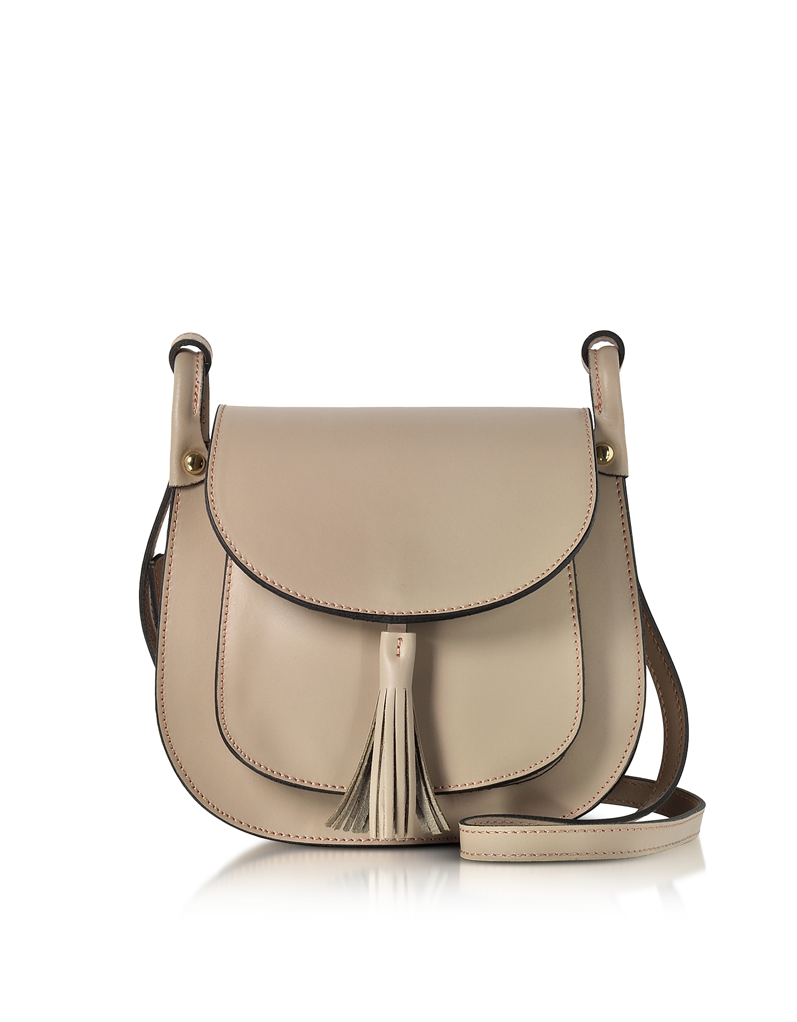 Le Parmentier Handbags, Buttercup Nude Leather Shoulder Bag w/Tassel