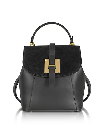 Le Parmentier - Palazia Black Suede and Leather Small Backpack
