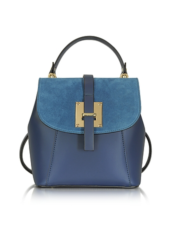 Le Parmentier - Midnight Blue Suede and Leather Small Backpack