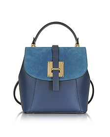 Midnight Blue Suede and Leather Small Backpack - Le Parmentier