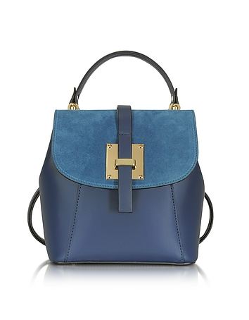 Palazia Midnight Blue Suede and Leather Small