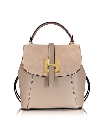 Le Parmentier - Palazia Taupe Suede and Leather Small Backpack