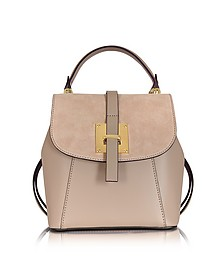 Palazia Taupe Suede and Leather Small Backpack - Le Parmentier