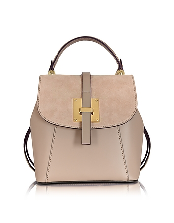 Palazia Nude Suede and Leather Small Backpack
