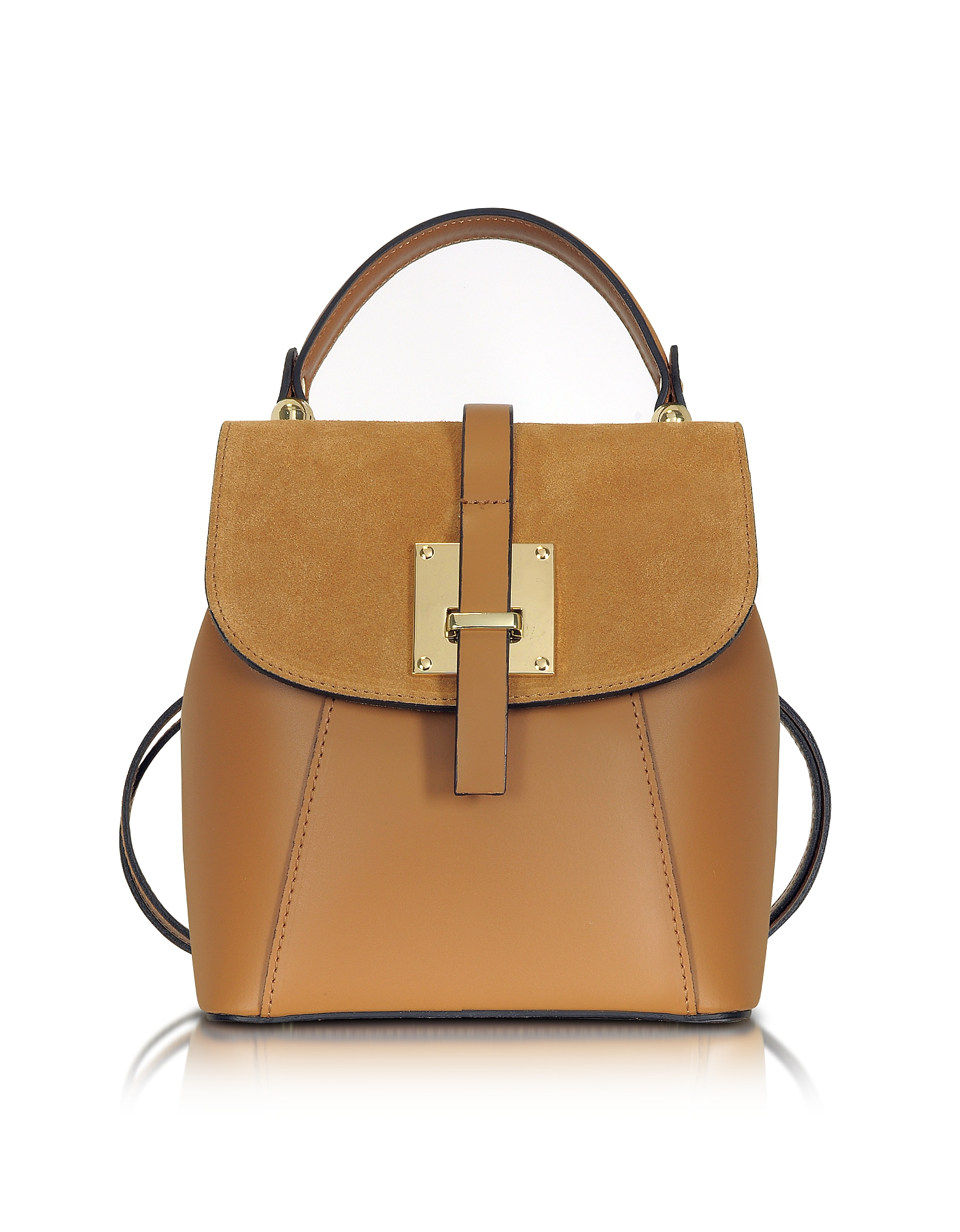 Le Parmentier Handbags, Palazia Cognac Suede and Leather Small Backpack