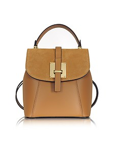 Camel Suede and Leather Small Backpack - Le Parmentier