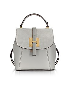 Pearl Gray Suede and Leather Small Backpack - Le Parmentier