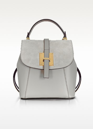 Palazia Pearl Gray Suede and Leather Small Backpack - Le Parmentier