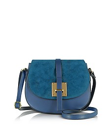 Pollia Midnight Blue Leather and Suede Crossbody Bag - Le Parmentier