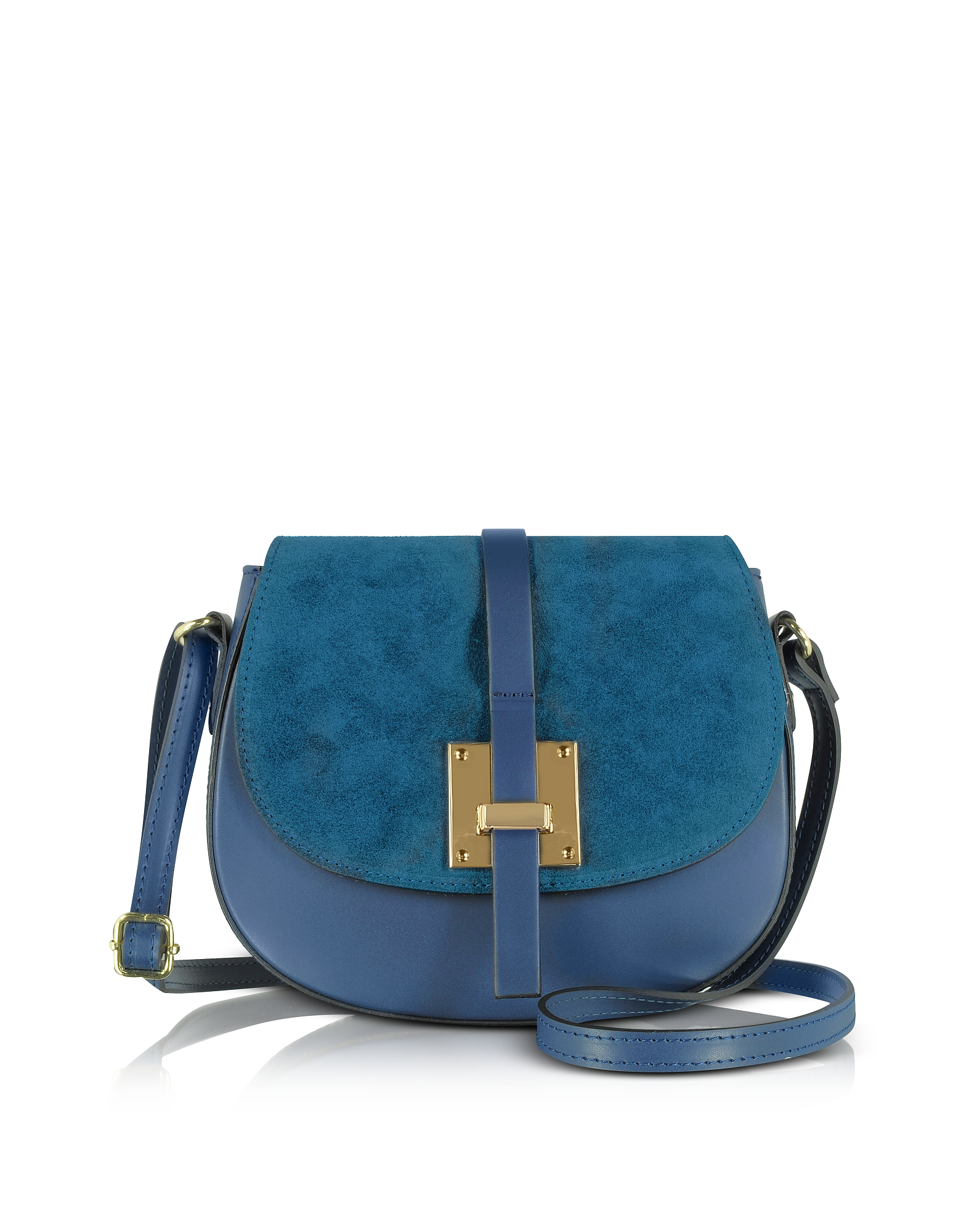 Le Parmentier Handbags, Pollia Midnight Blue Leather and Suede Crossbody Bag