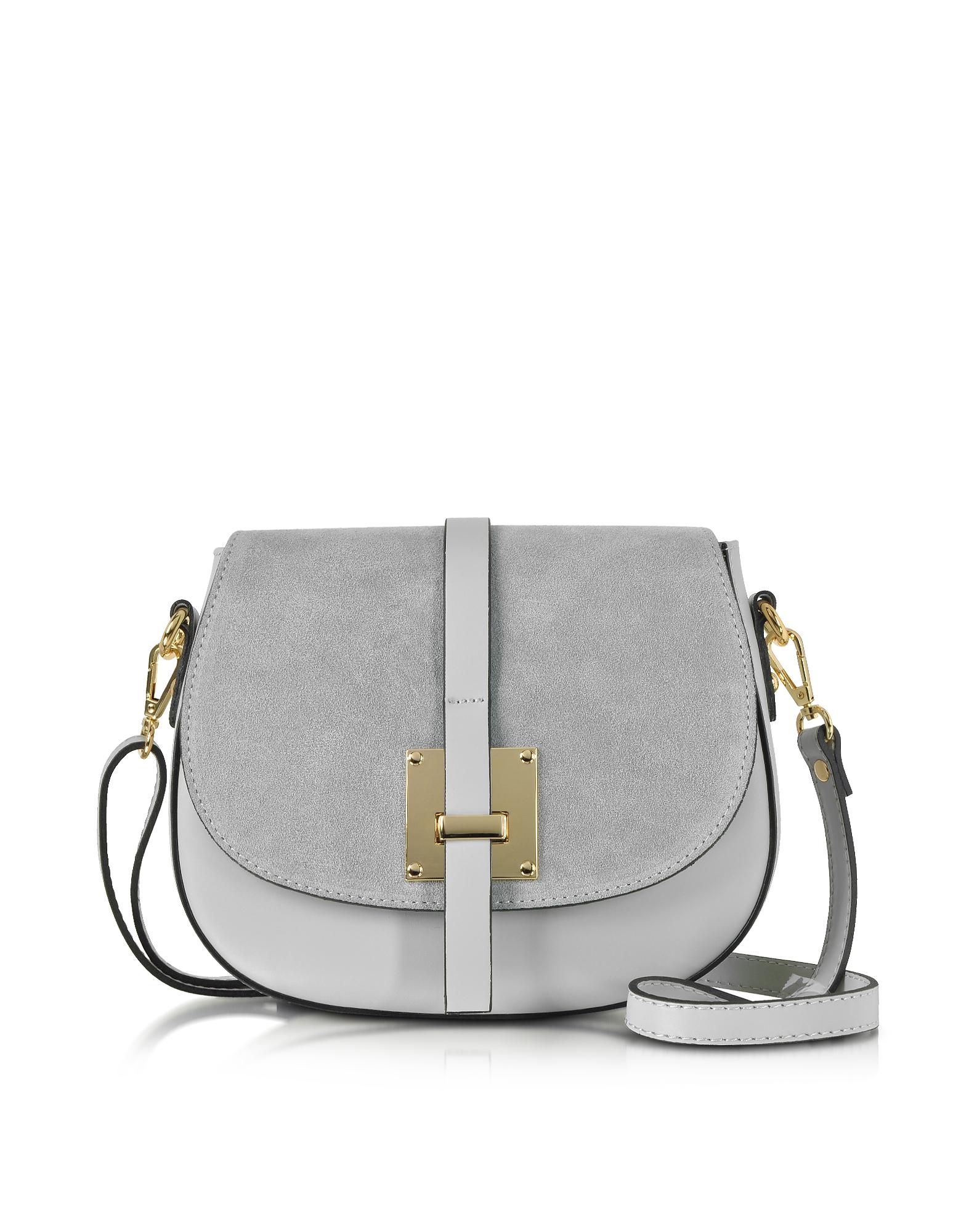 Le Parmentier Handbags, Pollia Pearl Gray Leather and Suede Crossbody Bag