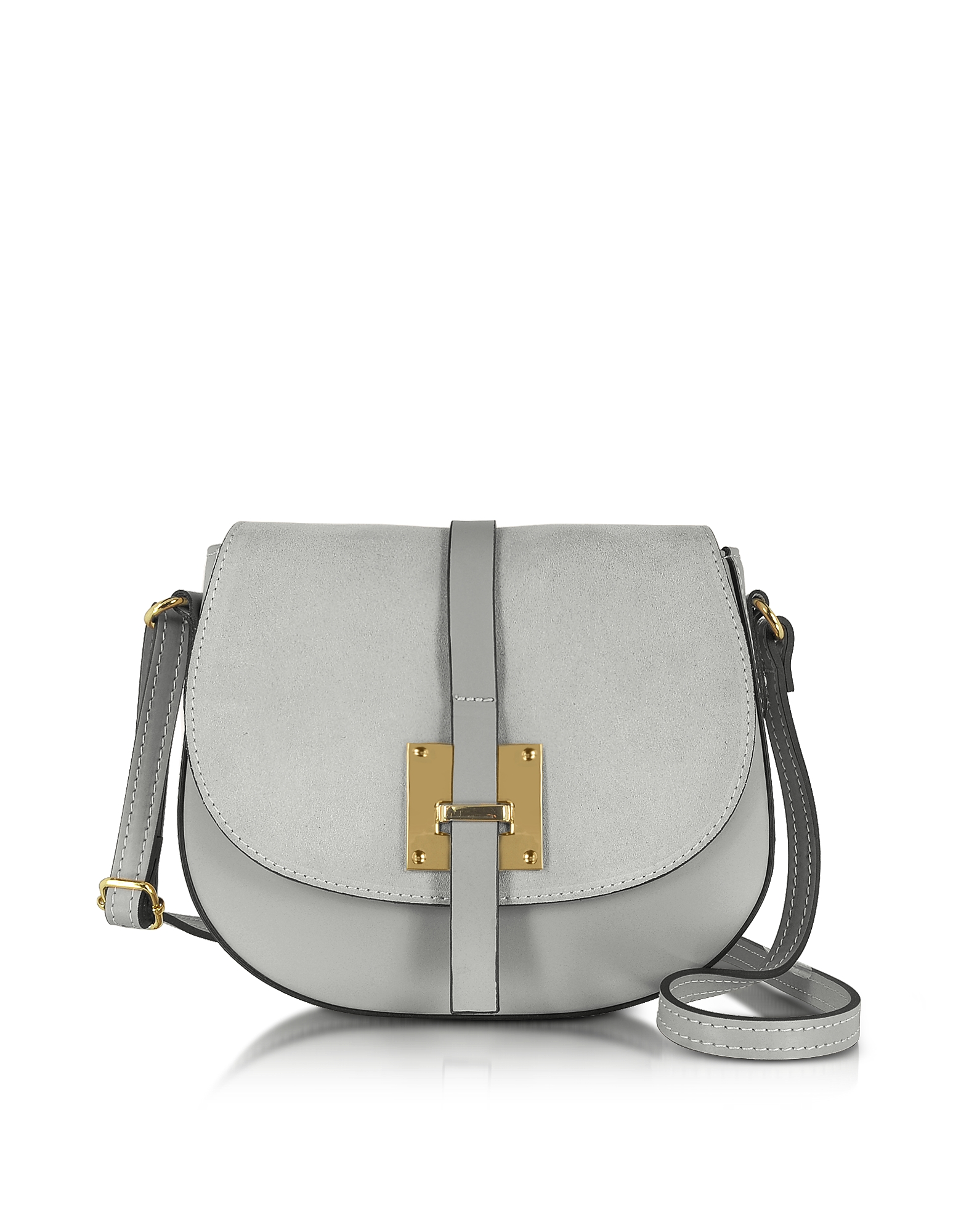 Le Parmentier Handbags, Pollia Pearl Gray Leather and Suede Crossbody Bag