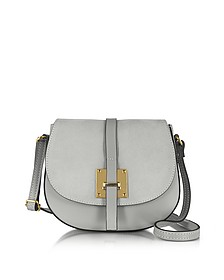 Pollia Pearl Gray Leather and Suede Crossbody Bag - Le Parmentier