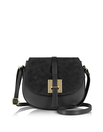Le Parmentier - Pollia Black Leather and Suede Crossbody Bag
