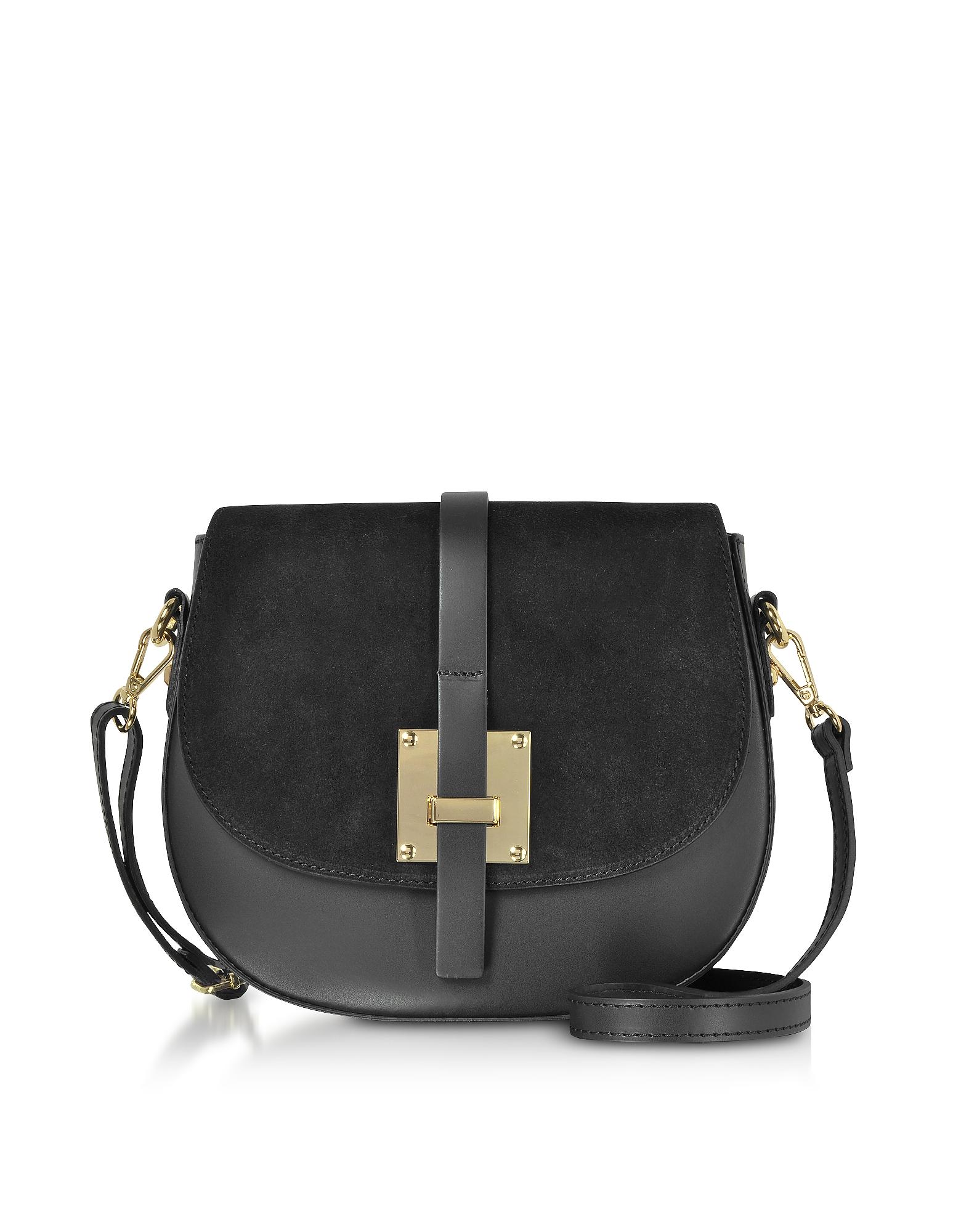 Le Parmentier Handbags, Pollia Black Leather and Suede Crossbody Bag
