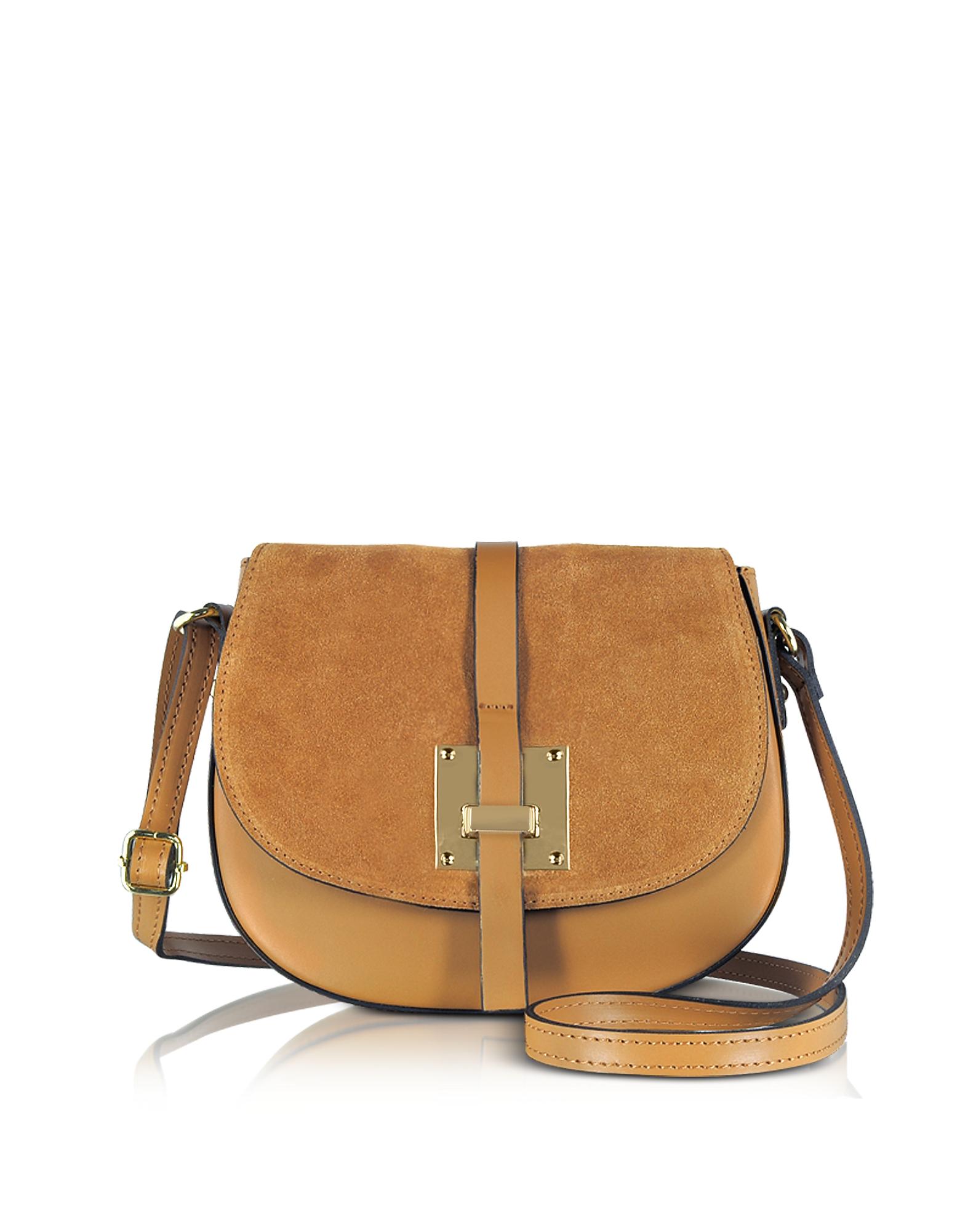 Le Parmentier Handbags, Pollia Cognac Leather and Suede Crossbody Bag