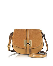 Pollia Cognac Leather and Suede Crossbody Bag - Le Parmentier