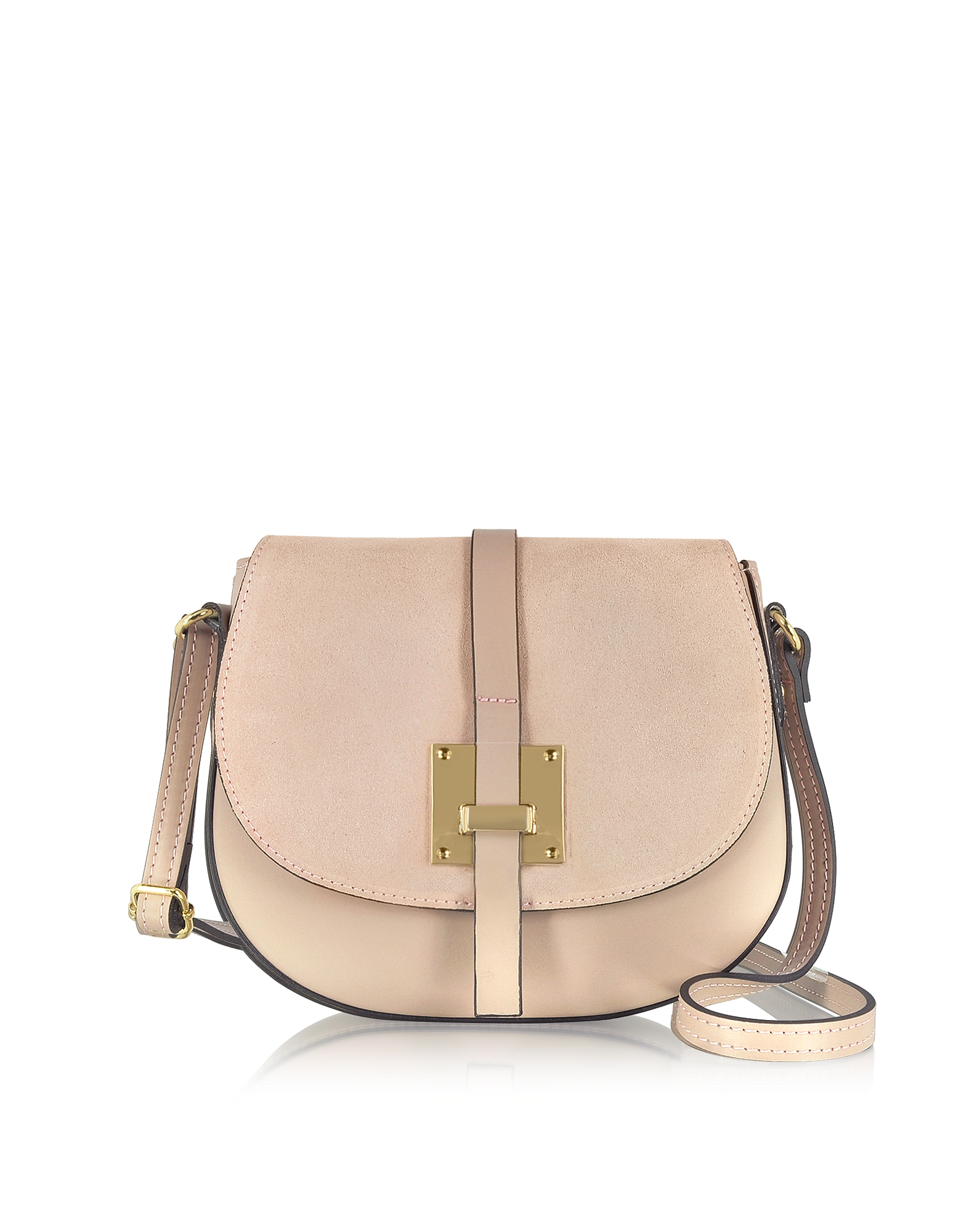 Pollia Nude Leather and Suede Crossbody Bag