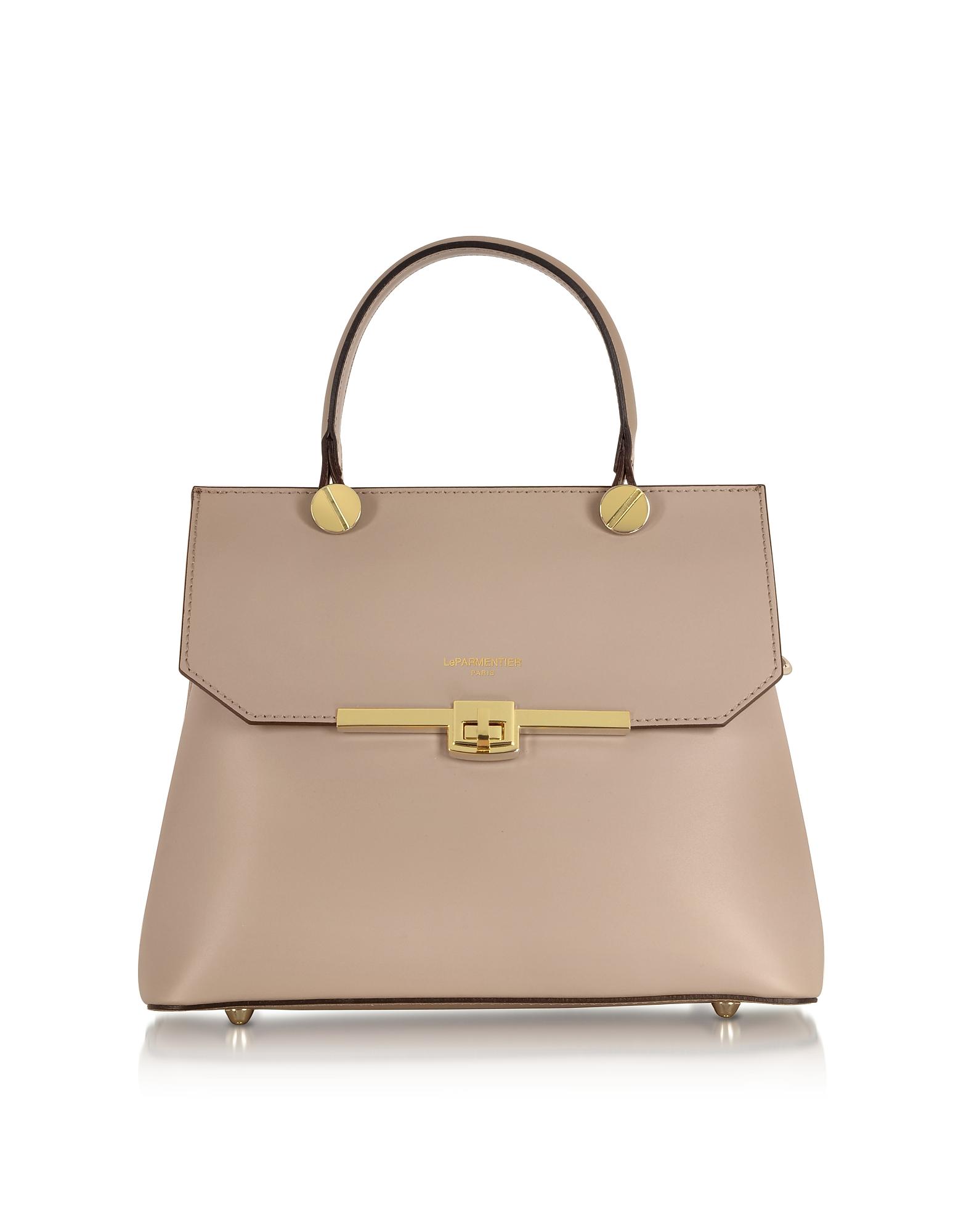 Le Parmentier Designer Handbags, Atlanta Genuine Leather Top Handle Satchel Bag W/Shoulder Strap
