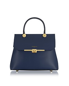 Atlanta Navy Blue Leather Top Handle Satchel Bag w/Shoulder Strap - Le Parmentier