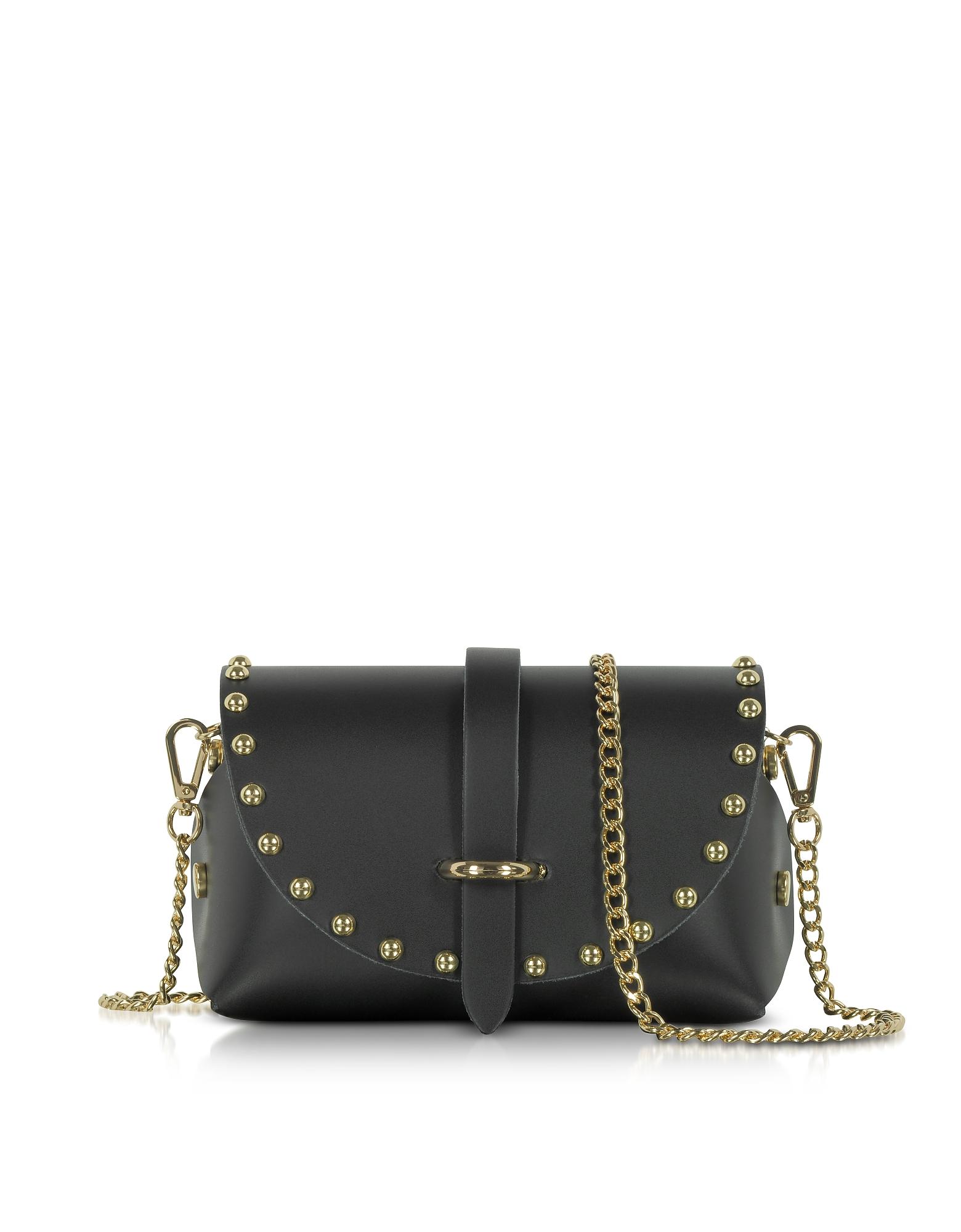 Le Parmentier Handbags, Caviar Mini Black Leather Shoulder Bag w/Studs