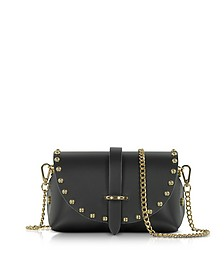 Caviar Mini Black Leather Shoulder Bag w/Studs - Le Parmentier