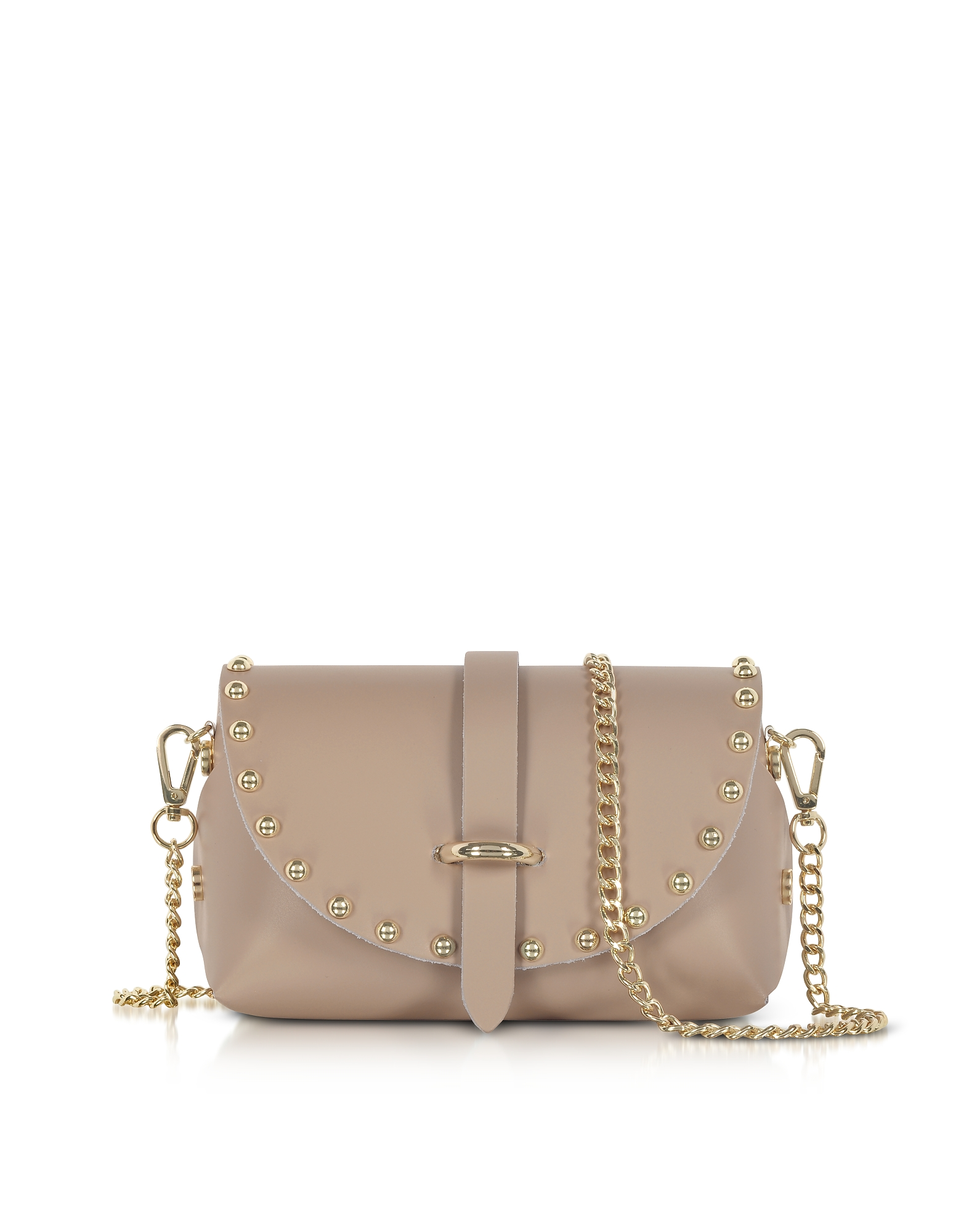 Le Parmentier Designer Handbags, Caviar Mini Nude Leather Shoulder Bag w/Studs