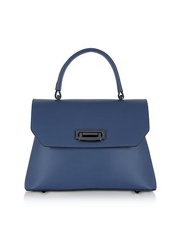 Lutece Small Blue Leather Top Handle Satchel Bag