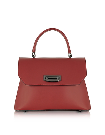 Lutece Small Red Leather Top Handle Satchel Bag