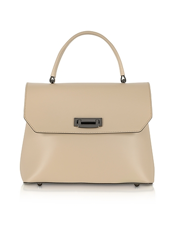 Lutece Medium Nude Leather Top Handle Satchel Bag
