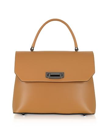 Lutece Medium Cognac Leather Top Handle Satchel Bag