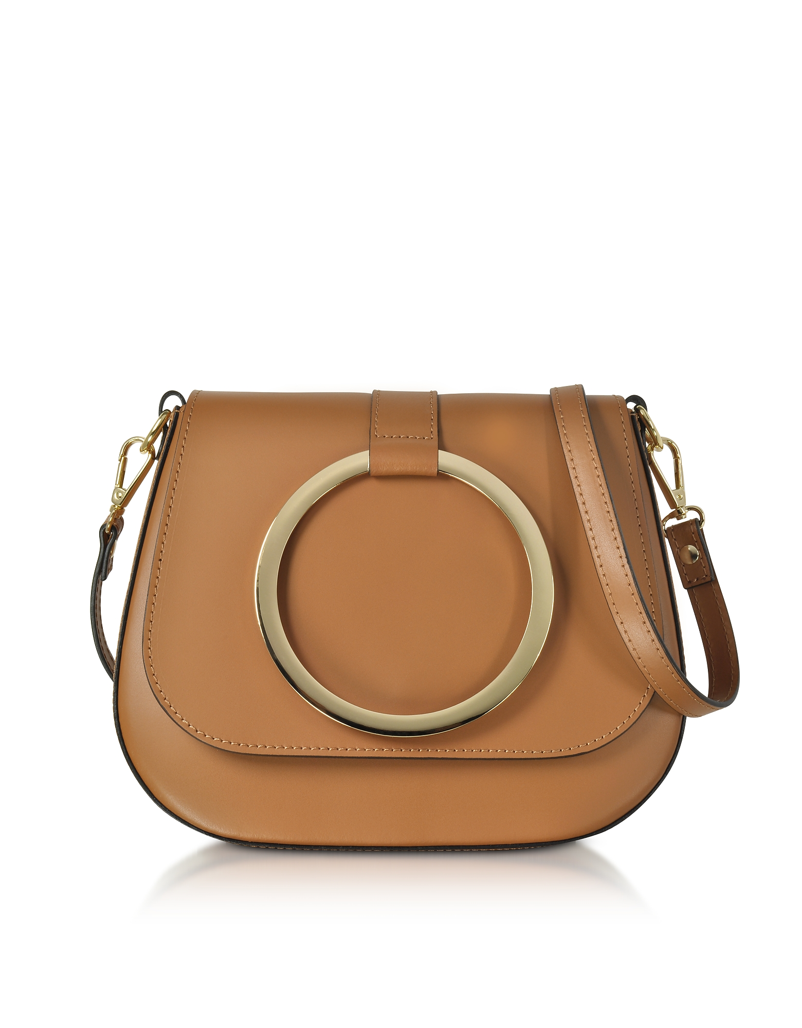 Le Parmentier Handbags, Cognac Smooth Leather Shoulder Bag