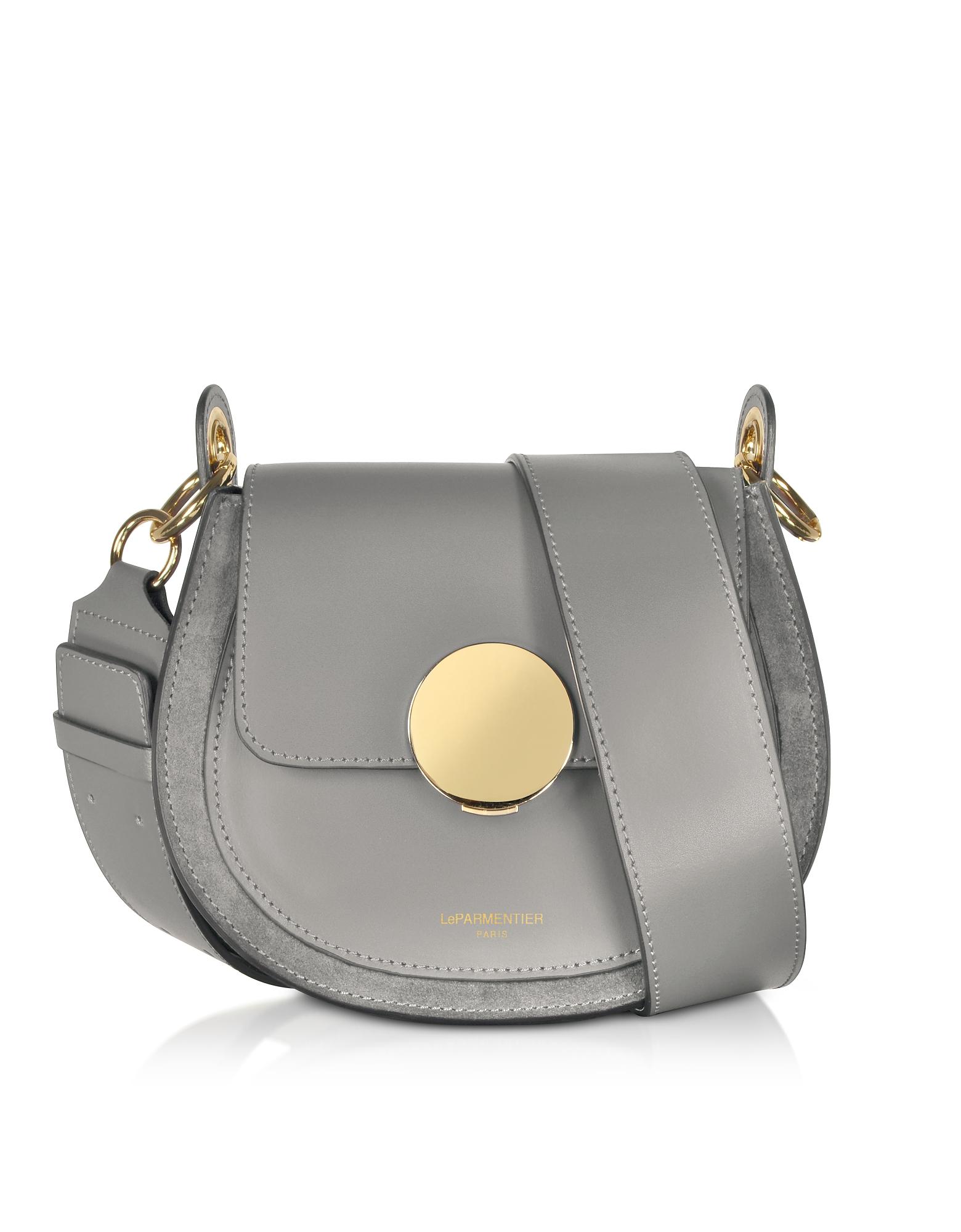 Le Parmentier Handbags, Yucca Suede and Leather Shoulder Bag