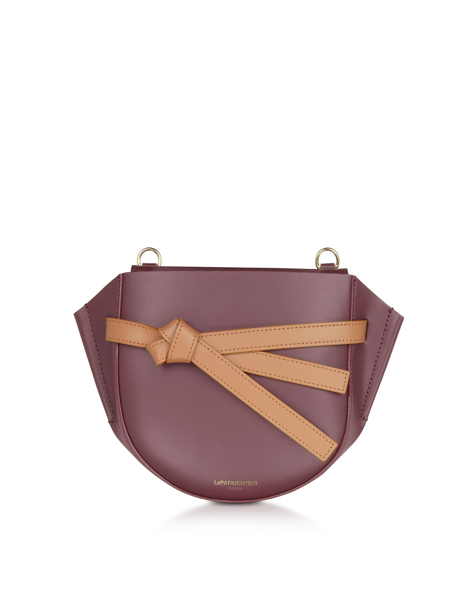 LE PARMENTIER   Le Parmentier Designer Handbags, Peyote Smooth Leather Shoulder Bag W/Bow   Goxip