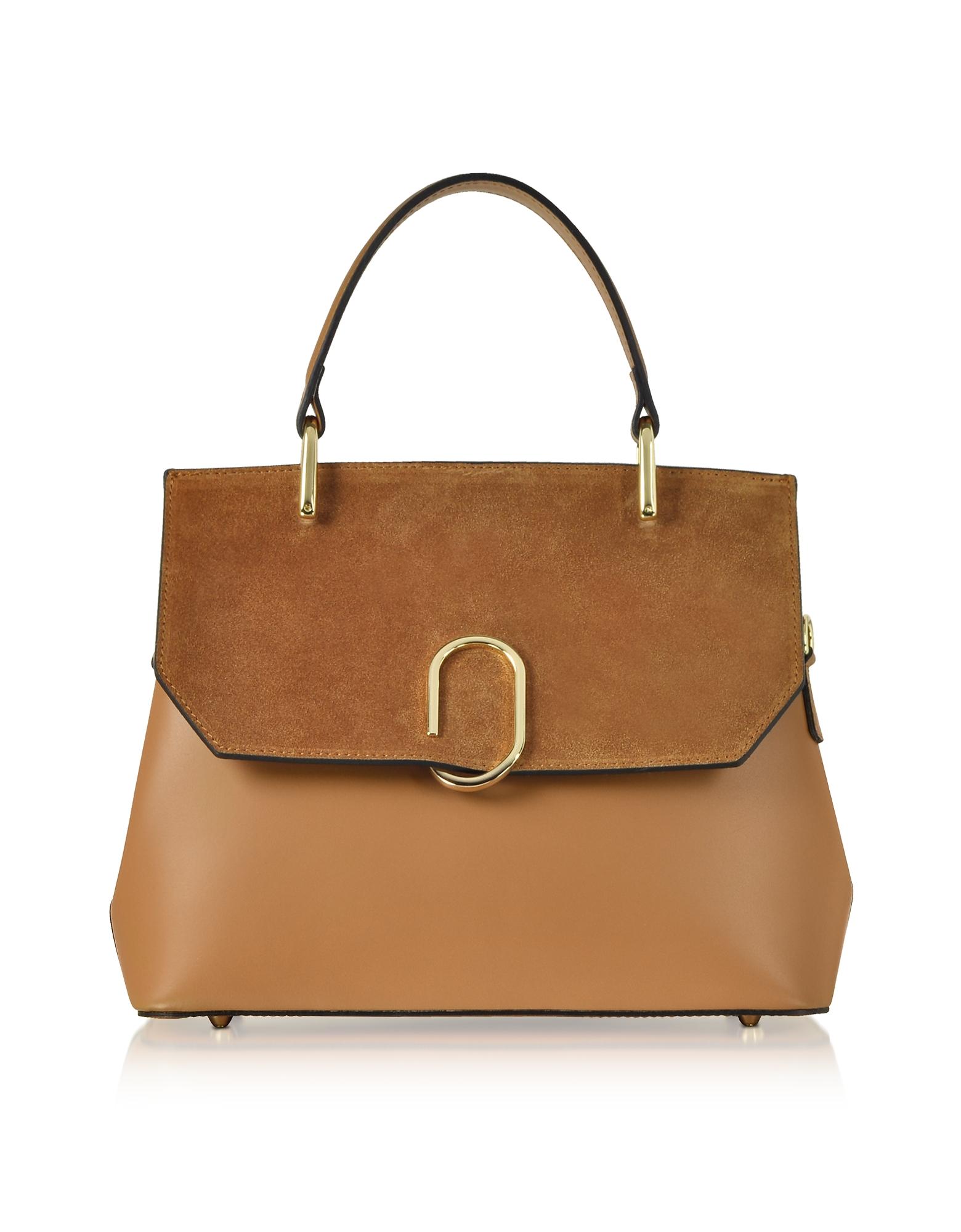 Le Parmentier Handbags, Thais Suede and Leather Satchel Bag