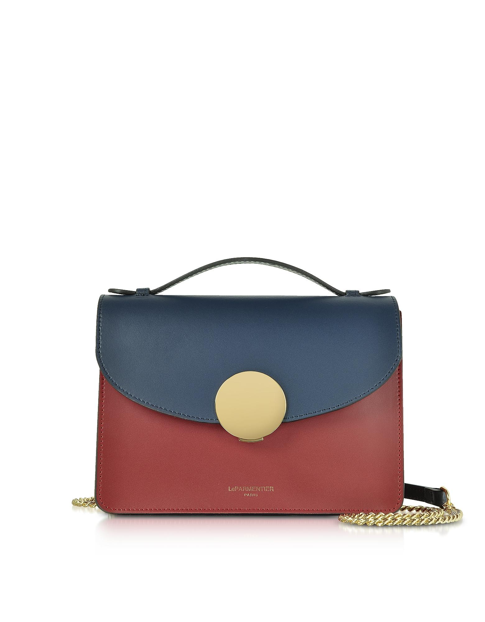New Ondina Color Block Flap Top Leather Satchel Bag