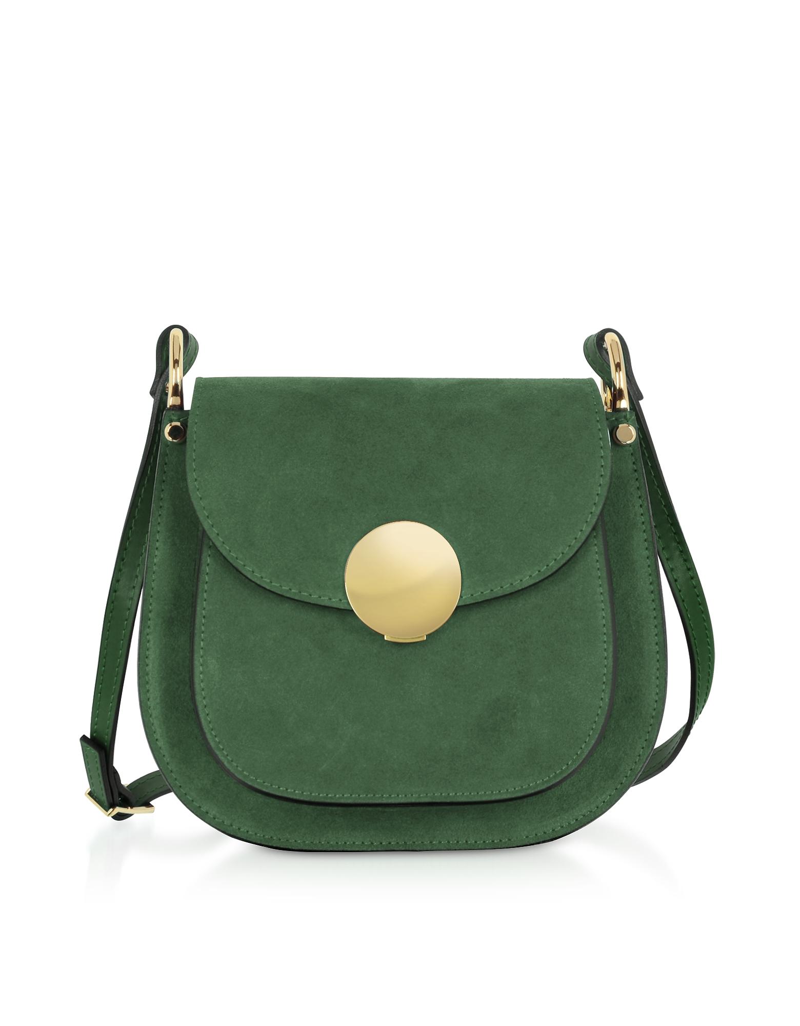 Le Parmentier Designer Handbags, Agave Suede and Smooth Leather Shoulder Bag