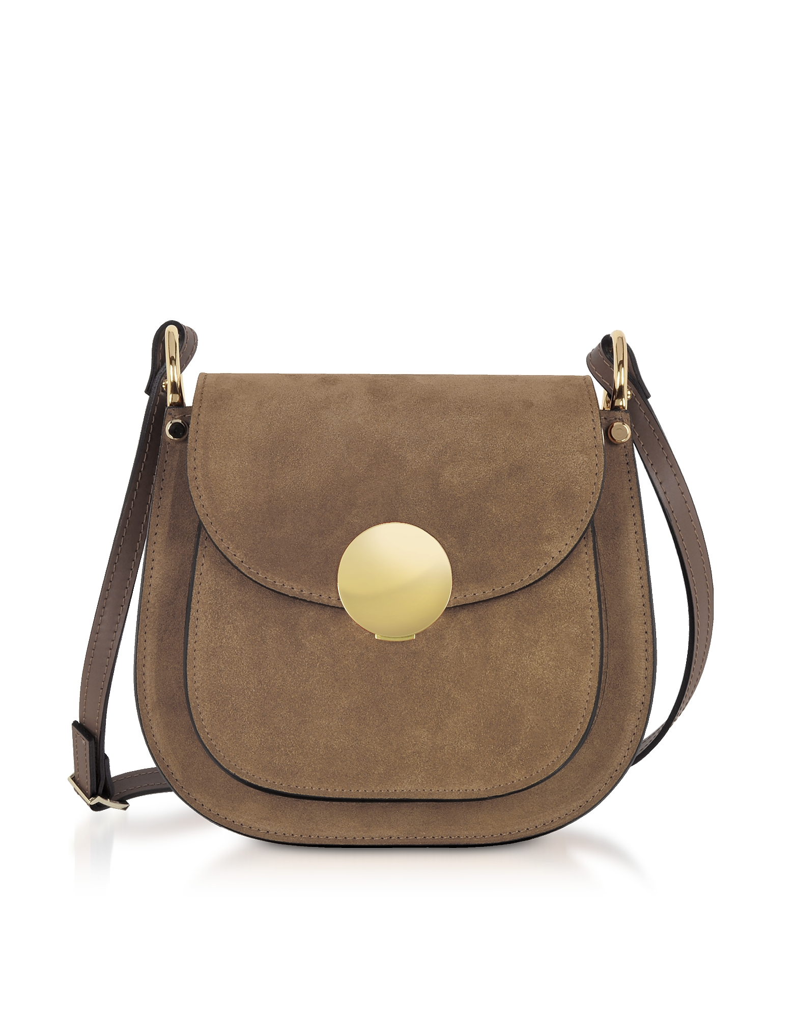 Le Parmentier Handbags, Agave Suede and Smooth Leather Shoulder Bag